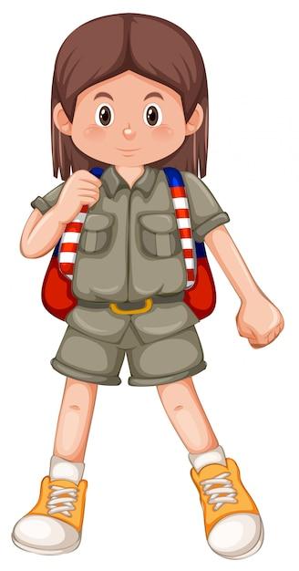 Um personagem de escoteira menina morena Vetor grátis