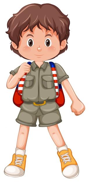 Um personagem de escoteiro menino morena Vetor grátis