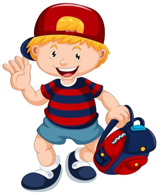 Um personagem de estudante de menino Vetor grátis