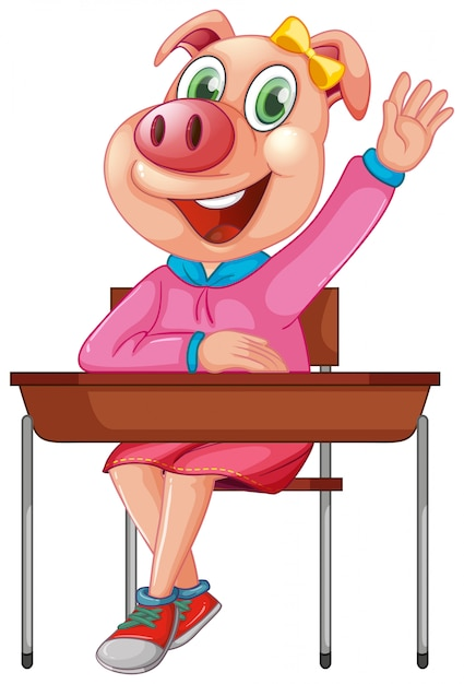 Um personagem de estudante de porco Vetor grátis