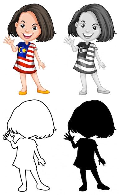 Um personagem de garota malasiana Vetor grátis