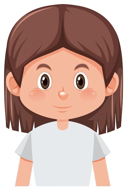 Um personagem de menina morena Vetor grátis