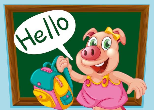 Um personagem de porco bonito Vetor grátis