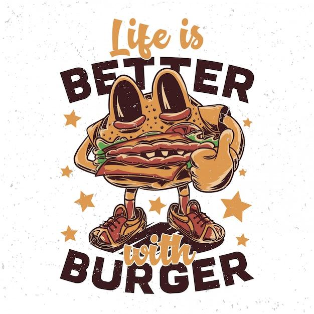 Um personagem engraçado hambúrguer Vetor Premium