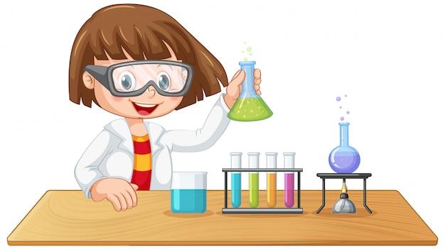 Um personagem garoto de laboratório Vetor grátis