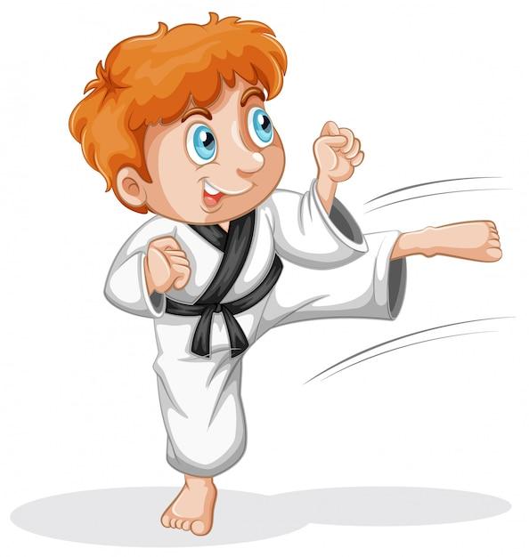 Um personagem garoto taekwondo Vetor grátis