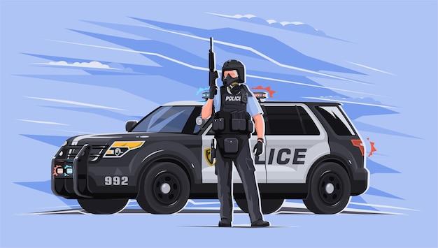Um policial com armadura e máscara de gás com uma arma nas mãos com um carro ao fundo em um fundo brilhante. defensor da lei e da ordem. a polícia está no meio de uma pandemia. Vetor Premium