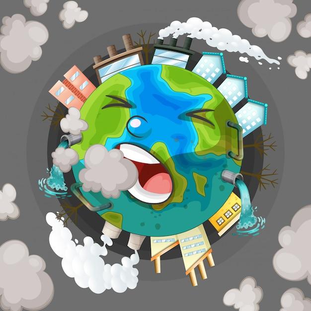 Um, poluído, terra, ícone Vetor grátis