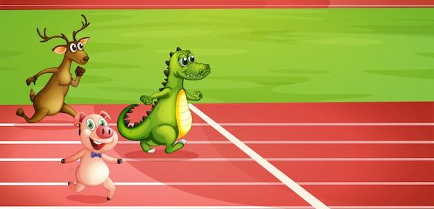 Um porco, um crocodilo e um cervo correndo Vetor grátis