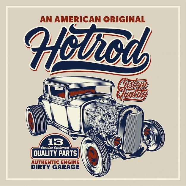 Um pôster original americano do hotrod Vetor Premium