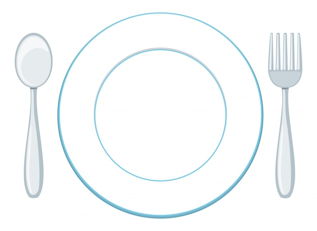 Um, prato branco, com, colher garfo Vetor grátis