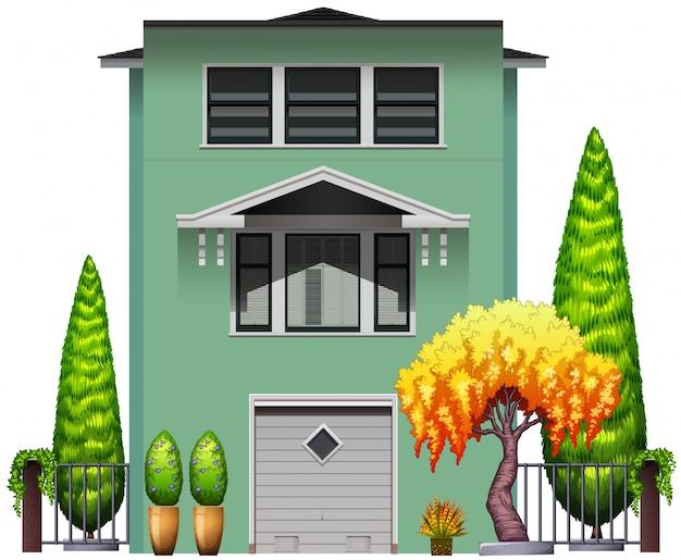 Um prédio alto e verde Vetor grátis