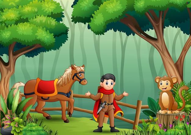 Um príncipe com animais na floresta Vetor Premium