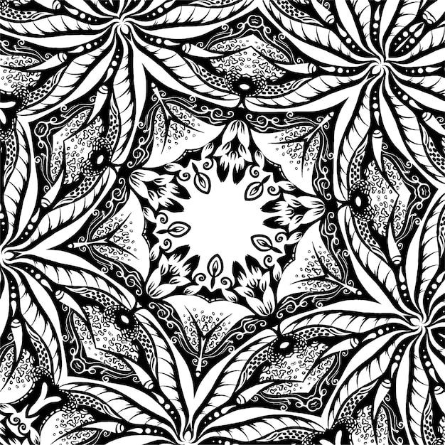 Um, quadrado, textura, com, folhas, hand-drawn, ilustração Vetor Premium