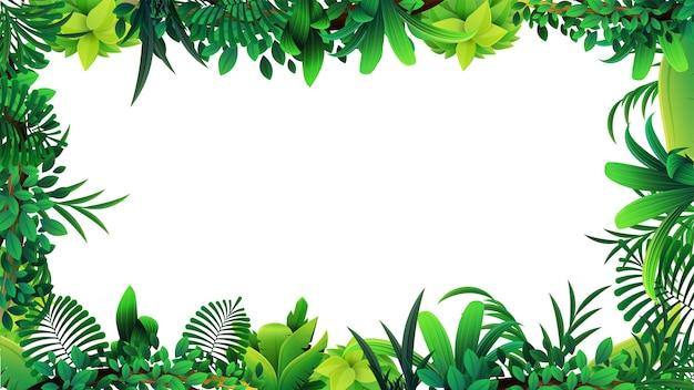 Um quadro de folhas tropicais em torno de um espaço vazio branco. layout de uma moldura feita de elementos tropicais para sua criatividade Vetor Premium