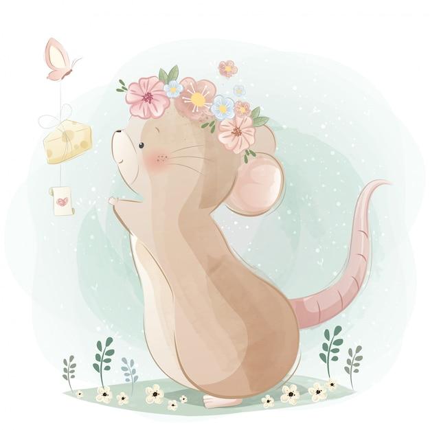 Um rato bonitinho perseguindo uma borboleta Vetor Premium