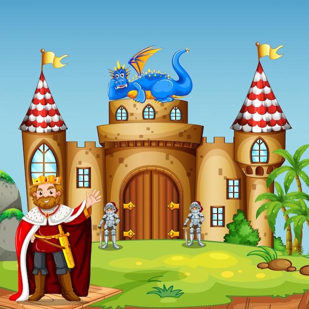 Um rei drigon no castelo Vetor grátis