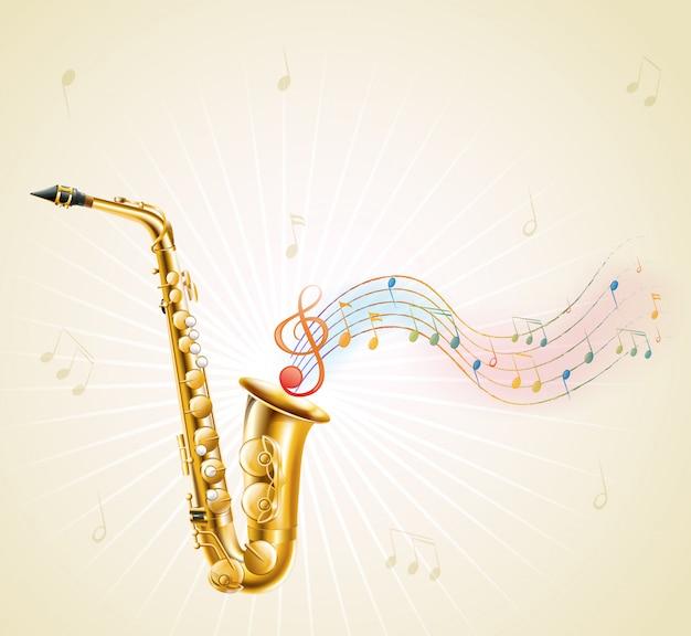 Um saxofone com notas musicais Vetor Premium