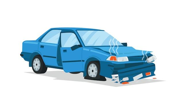 Um sedan pequeno naufragado no acidente bateu e caiu Vetor Premium