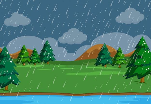 Um simeple chovendo cena na natureza Vetor Premium