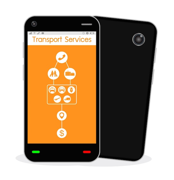 Um smartphone com aplicativo de serviço de transporte Vetor Premium