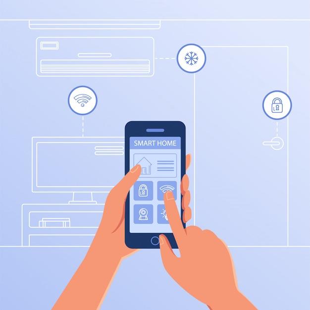 Um smartphone com configurações de casa inteligente e sistema de controladores. Vetor Premium