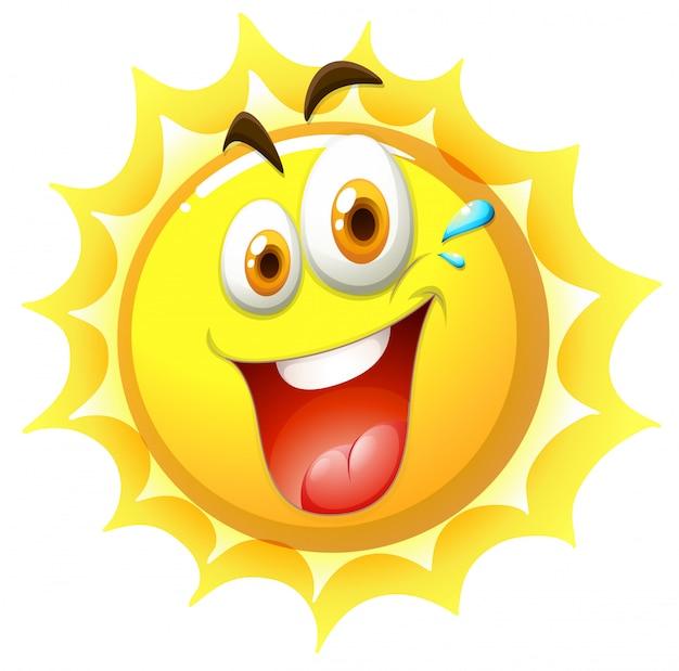 Um sol feliz no fundo branco Vetor grátis