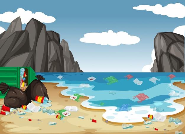 Um, sujo, praia, poluição, fundo Vetor Premium