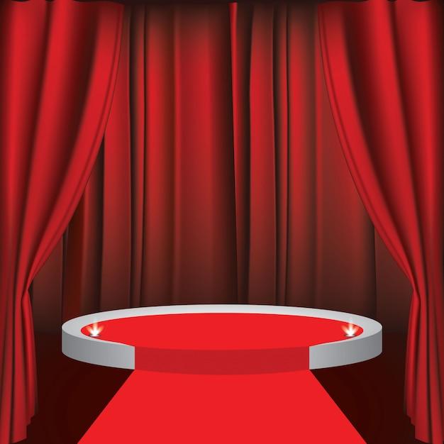 Um, teatro, fase, com, um, vermelho, cortina Vetor Premium