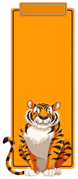 Um tigre no modelo em branco Vetor grátis