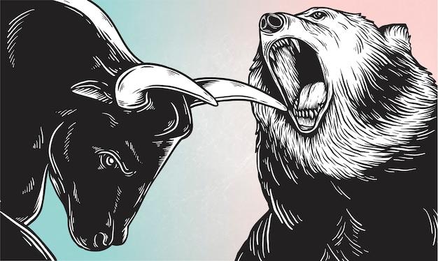 Um touro e um urso lutando vector Vetor grátis