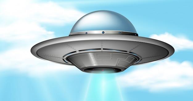 Um ufo no céu Vetor Premium