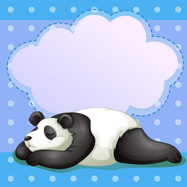 Um urso adormecido com um texto explicativo vazio Vetor Premium
