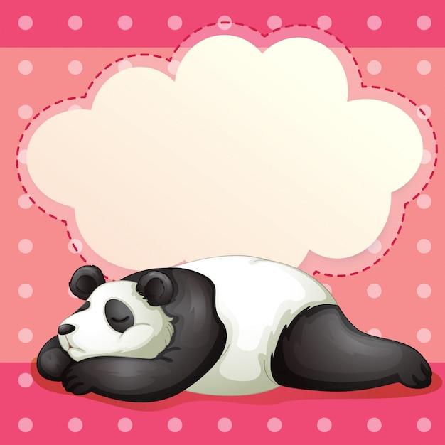 Um urso dormindo com um texto explicativo vazio Vetor Premium