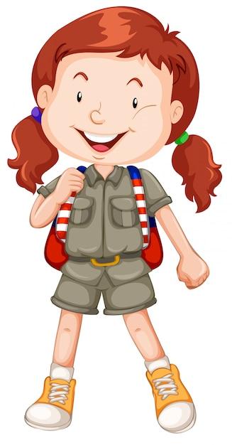 Um, vermelho, haired, menina, escoteiro, personagem Vetor grátis