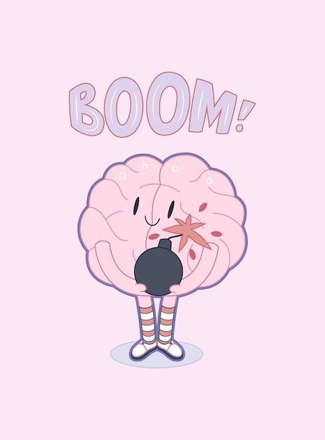 Um, vetorial, esboçado, caricatura plana, ilustrado, cartaz, de, um, cérebro Vetor Premium