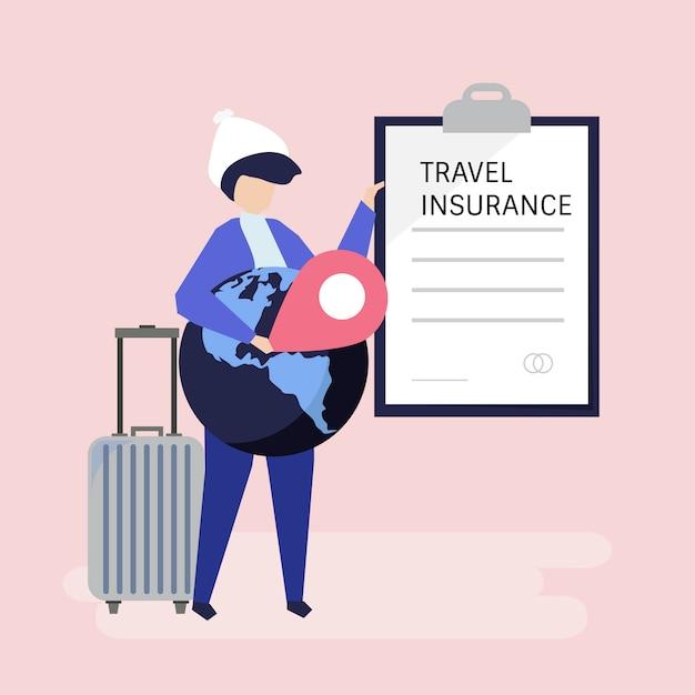 Um viajante com um documento de apólice de seguro de viagem Vetor grátis