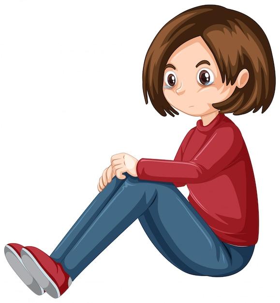 Uma adolescente chorando no fundo branco Vetor grátis