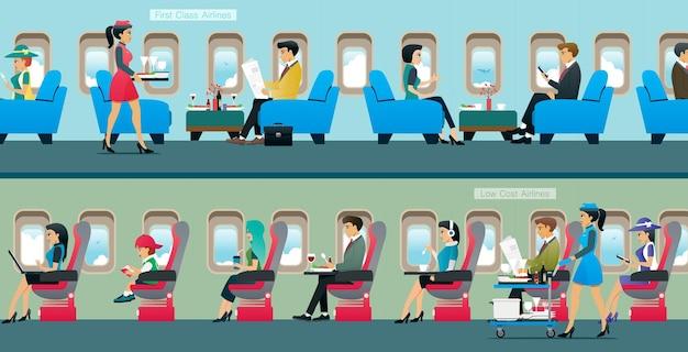 Uma aeronave de passageiros da classe executiva com serviço de atendente de cabine. Vetor Premium