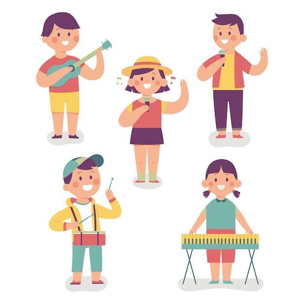 Uma alegre banda infantil, eles cantam e tocam instrumentos musicais Vetor Premium