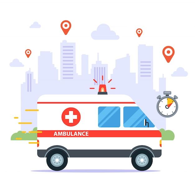 Uma ambulância viaja para chamar um paciente doente. ilustração plana. Vetor Premium