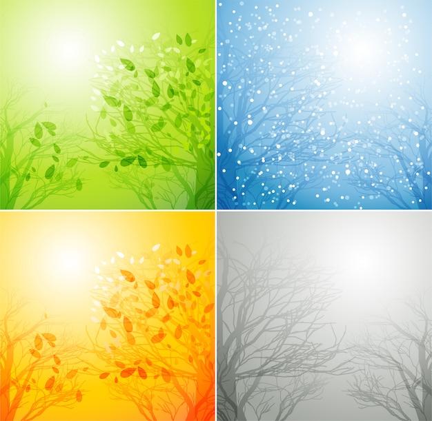 Uma árvore em quatro estações diferentes Vetor Premium