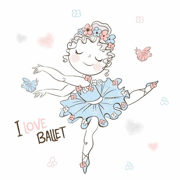 Uma bailarina bonitinha em um tutu dança lindamente. Vetor Premium