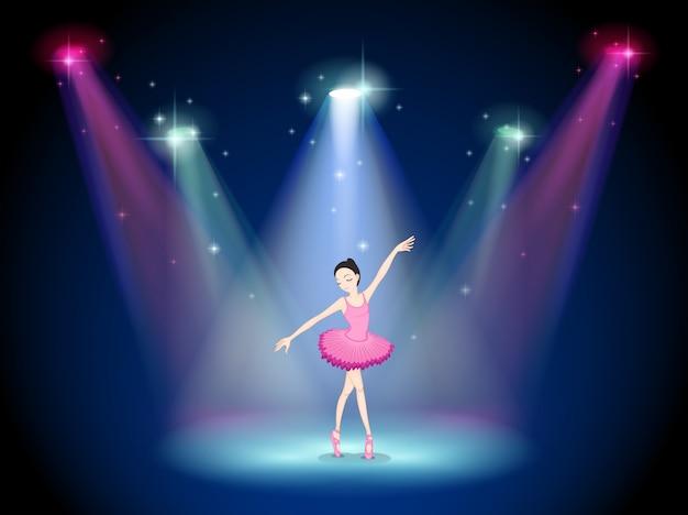 Uma bailarina graciosa no centro do palco Vetor Premium