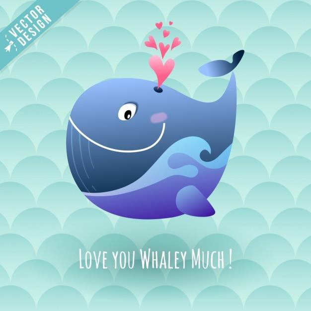 Uma baleia feliz com corações Vetor grátis