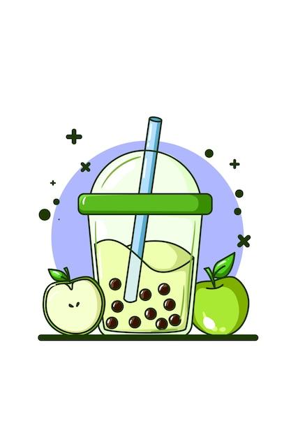 Uma bebida com sabor de maçã com ilustração de duas maçãs Vetor Premium