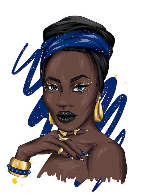 Uma bela mulher africana com um turbante e joias Vetor Premium