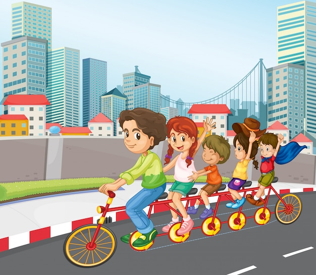 Uma bicicleta de equitação familiar na cidade Vetor grátis