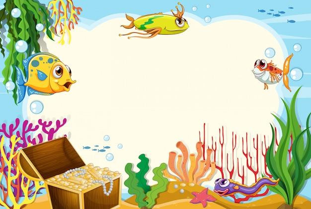 Uma borda de subaquática Vetor grátis