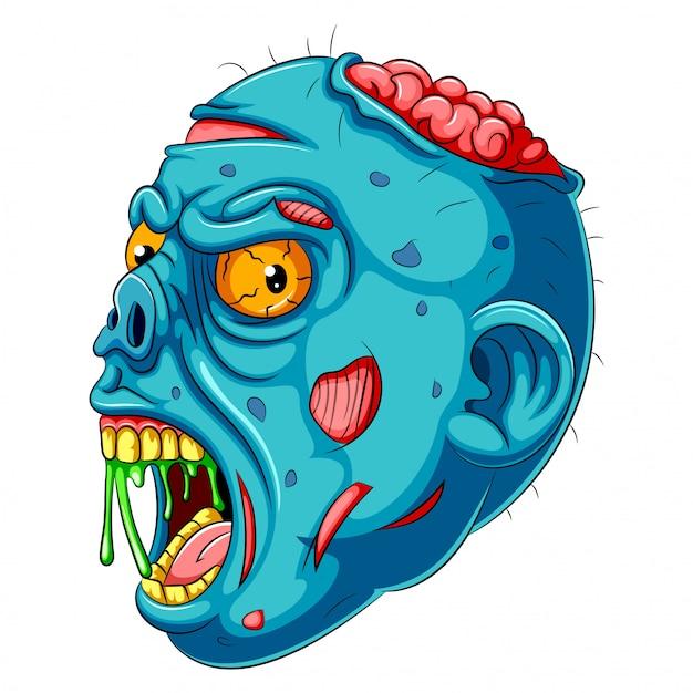 Uma cabeça de zumbi azul dos desenhos animados Vetor Premium